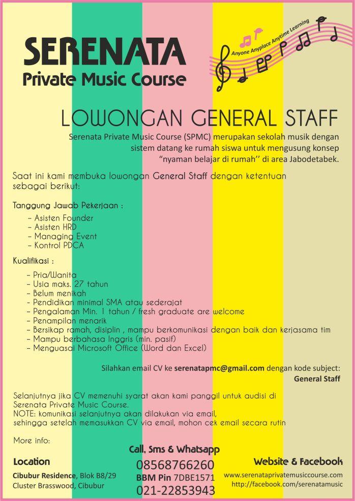 iklan lowongan kerja general staff